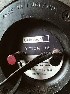 connectique enceintes Celestion Ditton 15 vintage